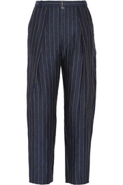 Angelie pinstriped linen tapered pants