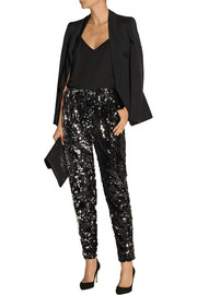 Milly Sequined tulle straight-leg pants