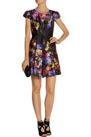 Milly Floral-print satin-twill mini dress