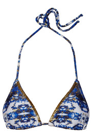 Vix Pyramid embellished printed triangle bikini top
