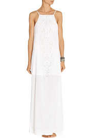 Vix Teca lace-paneled cotton-voile maxi dress