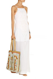 Teca lace-paneled cotton-voile maxi dress
