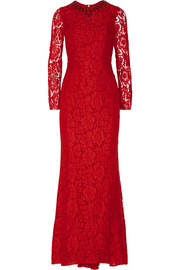Crystal-embellished lace gown