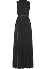 Needle & Thread Embellished crepe and mesh gown