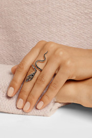 Ileana Makri Cobra 18-karat rose gold diamond and ruby ring