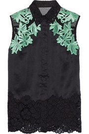Mesh-paneled satin and guipure lace top