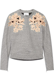 Guipure lace-paneled cotton-blend sweatshirt