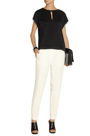 3.1 Phillip Lim Charmeuse-trimmed crepe tapered pants