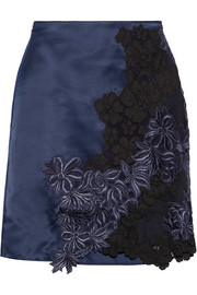 3.1 Phillip Lim Silk-satin and guipure lace mini skirt