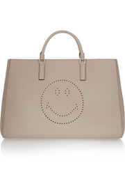 Ebury Maxi Smiley perforated textured-leather tote
