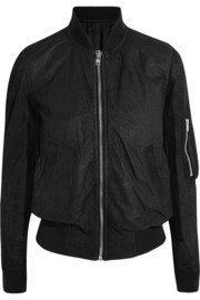 Brushed-leather bomber jacket