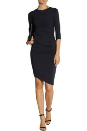 Ruched stretch-jersey mini dress