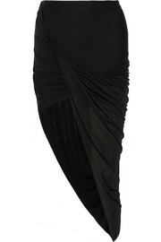 Asymmetric draped stretch-jersey skirt