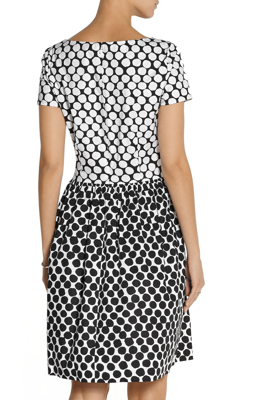 Oscar de la Renta Polka-dot cotton-blend poplin dress