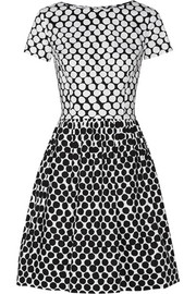 Polka-dot cotton-blend poplin dress