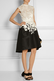 Oscar de la Renta Embroidered lace and faille dress