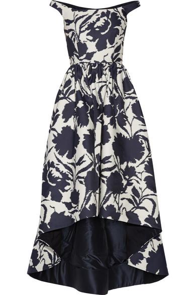 4d26584ee24 Oscar de la Renta. Off-the-shoulder printed cotton and silk-blend dress