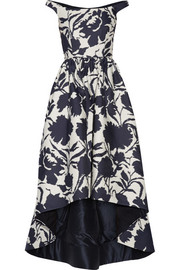 Oscar de la Renta Off-the-shoulder printed cotton and silk-blend dress