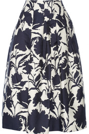 Printed cotton and silk-blend midi skirt