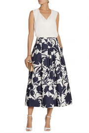Oscar de la Renta Printed cotton and silk-blend midi skirt