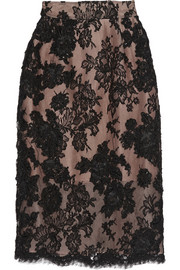 Embellished embroidered lace and cotton-blend pencil skirt