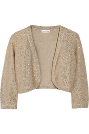 Oscar de la Renta Sequin-embellished silk-blend cardigan