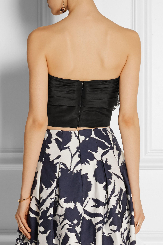 Oscar de la Renta Bow-embellished silk-faille bustier