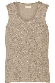 Sequined cashmere and silk-blend top