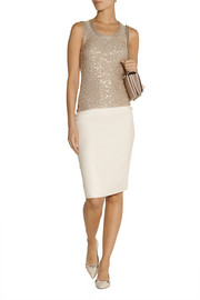 Oscar de la Renta Sequined cashmere and silk-blend top