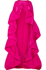 Ruffled silk-faille cape