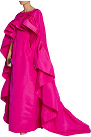 Oscar de la Renta Ruffled silk-faille cape
