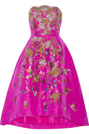 Oscar de la Renta Embroidered silk-faille dress