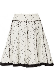 Twill-trimmed flecked tweed skirt