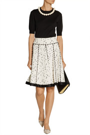 Oscar de la Renta Twill-trimmed flecked tweed skirt