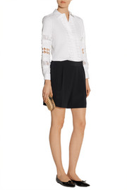 Oscar de la Renta Cutout cotton-blend shirt
