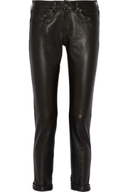 Rag & bone The Dre leather mid-rise slim boyfriend jeans