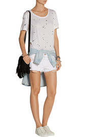 Mila distressed cut-off twill shorts