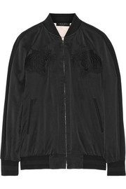Akita reversible washed-silk bomber jacket
