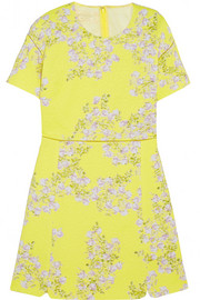 Floral-print matelassé cotton mini dress