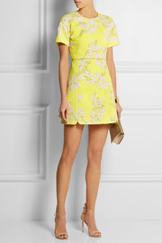 Giambattista Valli Floral-print matelassé cotton mini dress