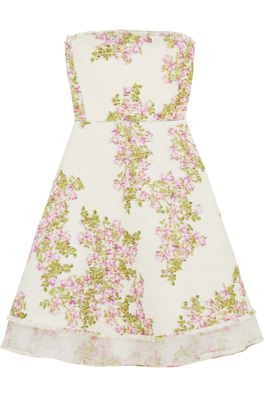 Giambattista Valli Organza-trimmed floral-print tweed mini dress
