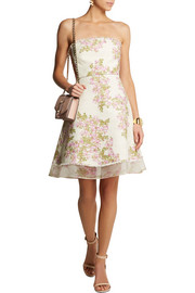 Giambattista Valli Organza-trimmed floral-print tweed mini dress