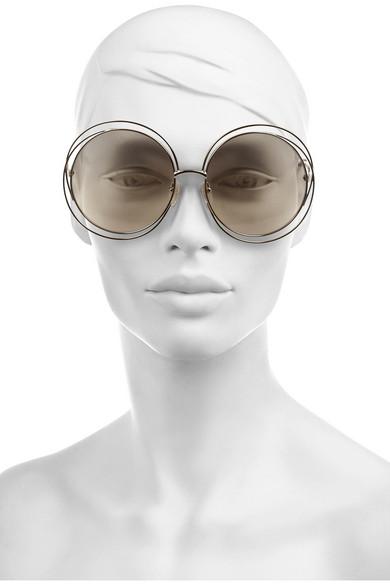 Chloe Carlina Sunglasses  chloé carlina round frame metal sunglasses net a porter com