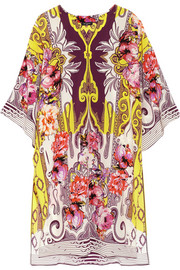 Printed silk crepe de chine tunic