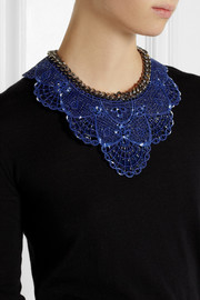 Finds + Annelise Michelson gunmetal-tone and coated lace necklace