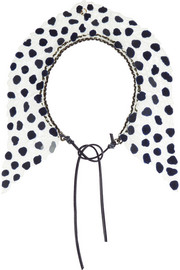 Finds + Annelise Michelson gunmetal-tone and embroidered lace necklace