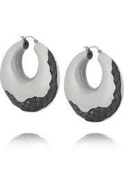 Intrecciato oxidized silver hoop earrings