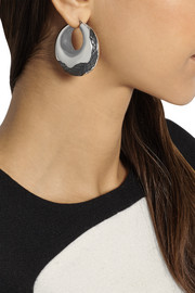 Bottega Veneta Intrecciato oxidized silver hoop earrings