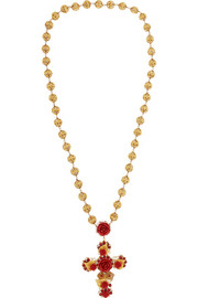 Gold-plated, crystal and resin necklace