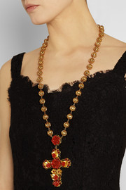 Dolce & Gabbana Gold-plated, crystal and resin necklace